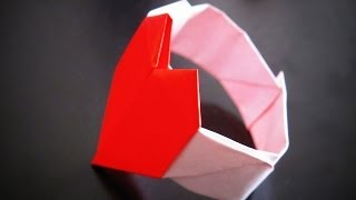 getlinkyoutube.com-Origami - How to make a Heart-Shaped BRACELET / Bratara Origami