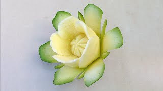 getlinkyoutube.com-The Art Of Vegetable Carving Zucchini Flower - Beginners Lesson 67 By Mutita Fruit Carving Tutorial