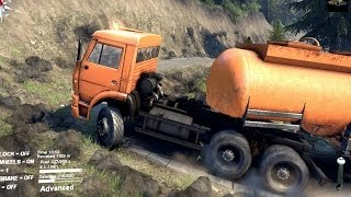 getlinkyoutube.com-SPINTIRES 2014 - Kamaz + Fuel Cistern Trailer Going Up Hill