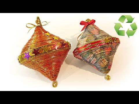 Cómo hacer adornos de Navidad reciclados. Recycled ornaments