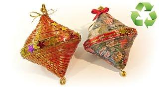 getlinkyoutube.com-Cómo hacer adornos de Navidad reciclados. Recycled ornaments