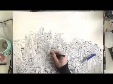 英國畫家手繪紐約天際線 pic