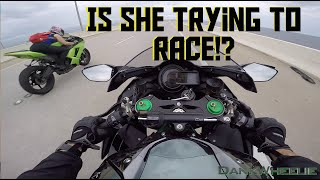 Ninja H2 : Rain Ride - Biker Chick Tags Along!