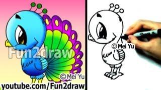 getlinkyoutube.com-Fun2draw - How to Draw a Cartoon Peacock - Draw Animals - Cute Art