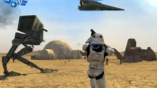 Star Wars Battlefront 1 gameplay Tatooine Dune Sea - Galactic Civil  War mission 1