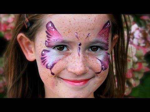 Rosa Schmetterling schminken / Schmetterling Kinderschminken Vorlage / Video Anleitung