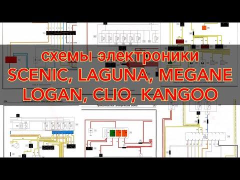 Электрические схемы  Рено Scenic, Laguna, Megane, Kangoo, Clio, Logan, Sandero (32 шт.)