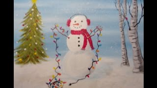 getlinkyoutube.com-Beginners Acrylic Painting Holiday Snowman  (with background music)
