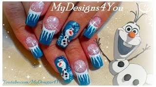 getlinkyoutube.com-Disney, Olaf, Frozen Nail Art Design | Winter Nails ♥ Снеговик Олаф Дизайн Ногтей