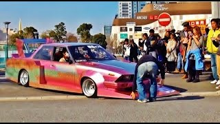 getlinkyoutube.com-【ニューイヤーミーティング2015】 街道レーサー 竹ヤリ 2/4 シャコタン 車高短 Lowered Lowcar exhaust