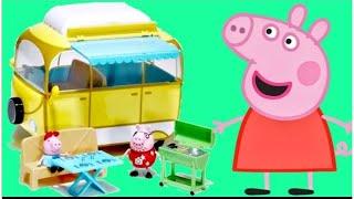 getlinkyoutube.com-Nick Jr. PEPPA PIG Camper Van Car / Daddy, Mummy, George, SHOPKINS Happy Places Toy Surprises / TUYC