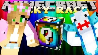 Minecraft Little Kelly : RAINBOW LUCKY BLOCK RACE W/ Sharky Adventures!