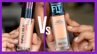 Maybelline Fit Me Vs Loreal Infallible foundation  {Delhi fashion blogger}