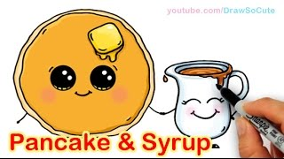 getlinkyoutube.com-How to Draw Cartoon Pancake and Syrup Breakfast Cute and Easy