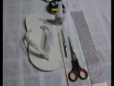 Chinelo com manta de strass - DIY - Passo a passo