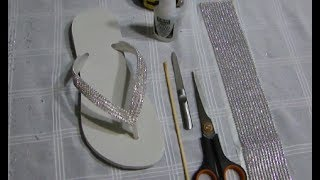 getlinkyoutube.com-Chinelo com manta de strass - DIY - Passo a passo