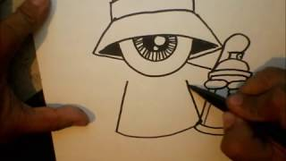 getlinkyoutube.com-How to Draw - One eye Gangsta with a spraycan and a marker