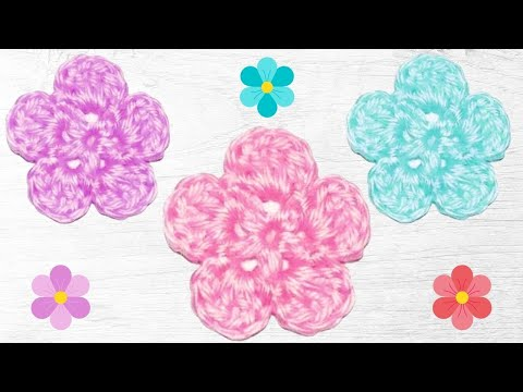 Crochet 5 Petal Flower Tutorial