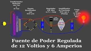 Fuente de Poder Regulada de 12 Voltios (Animada)