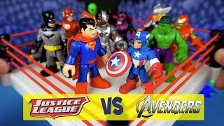 getlinkyoutube.com-Avengers Toys vs Imaginext Justice League Toys Battle Royal ft Imaginext Batman Toys by KidCity