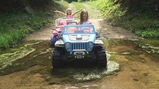 """Creek Fun"" Modified Power Wheels Jeep Kids Playing In The Creek - 18 Volt Jeeps Splashing"