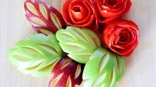 Apple Carvings Украшения из фруктов. Карвинг из яблок Очень красивый десерт! Decorations from fruits