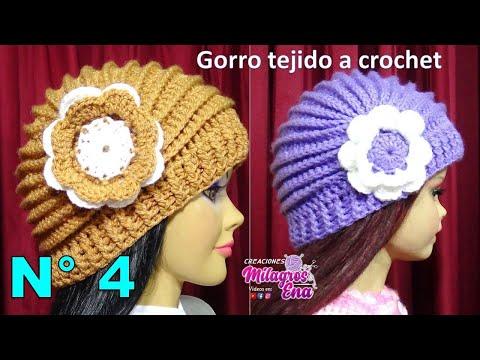 Gorro tejido a crochet con Flor paso a paso con puntos Relieve TODAS LAS TALLAS