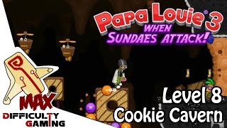 getlinkyoutube.com-Papa Louie 3: When Sundaes Attack 100% Walkthrough - Level 8: Cookie Cavern - 6/6 Warp Keys