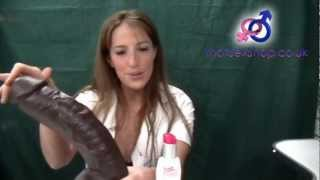 "getlinkyoutube.com-Sex toy review: The Realistic BAM 13"" ebony dildo for ThatSexShop"
