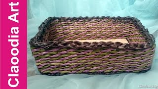 getlinkyoutube.com-Jak zrobić prostokątny koszyk z papierowej wikliny? (basket, paper wicker)