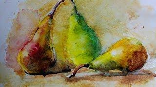 getlinkyoutube.com-Акварель по мокрому - Натюрморт,Груши (Watercolor Paint)
