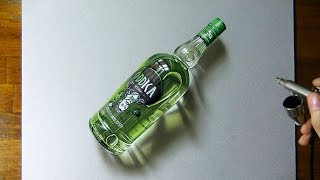 getlinkyoutube.com-Drawing timelapse: a bottle of Oddka vodka - hyperrealistic art