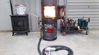 getlinkyoutube.com-Hairdryer Powered Waste oil Heater
