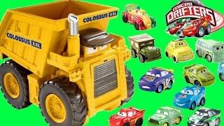 getlinkyoutube.com-DISNEY PIXAR CARS COLOSSUS XXL DUMP TRUCK EATS MICRO DRIFTERS!!