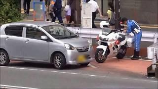 getlinkyoutube.com-黄色線を越えて車線変更した違反車白バイ隊員に強制停止の瞬間