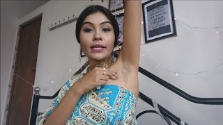 Bhabhi showing how to clean hairy armpits