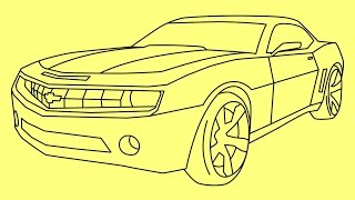 getlinkyoutube.com-How to draw Chevrolet Camaro Transformers Bumblebee - Как нарисовать машину Бамблби
