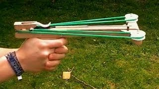 getlinkyoutube.com-Slingshot Crossbow Pistol (homemade)