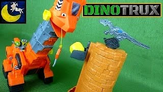 getlinkyoutube.com-DINOTRUX Skya's Tall Tail Slide Playset Toy Review Video with Skya, Revvit and 2 Scraptors!