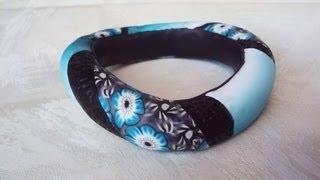 getlinkyoutube.com-Bracciale bangle con millefiori cane: in collaborazione con Archidee (polymer clay tutorial)