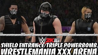 WWE 2K16 - The Shield's Entrance & Triple Powerbomb in the WrestleMania XXX Arena!