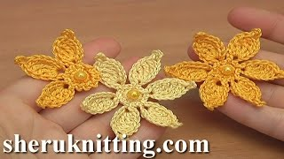 getlinkyoutube.com-How to Make Crocheted Flower Tutorial 45 Irish Lace