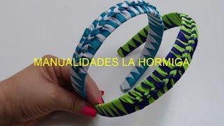 getlinkyoutube.com-Como hacer Diadema Tejida Nudos Ysabel Pap, # 516, Vinchas doble color trenzadas variedad tejido