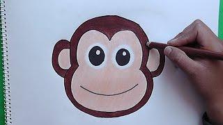 getlinkyoutube.com-Como dibujar y colorear a Rostro de Mono - How to draw and color a Monkey Face