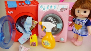 getlinkyoutube.com-Washing machine play and Baby Doll Orbeez Surprise eggs toys