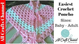 getlinkyoutube.com-Easiest Crochet Poncho - Baby to Adult sizes - Yolanda Soto Lopez