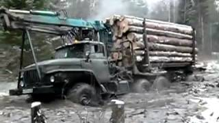 getlinkyoutube.com-truck Ural 4320 timber runs hard off-road | лесовоз Урал жесть