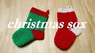 getlinkyoutube.com-クリスマス靴下の編み方  크리스마스 양말 뜨기 Christmas sox