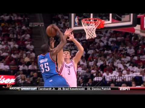 Kevin Durant Gets Up For The Dunk Over Omer Asik