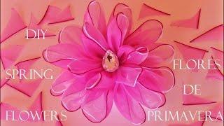 getlinkyoutube.com-DIY flores de primavera en cintas de organza  - spring flowers in organza ribbons